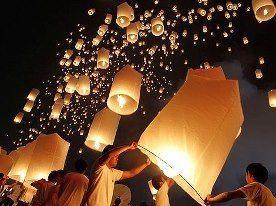 Decoración de boda con accesorios para iluminación como globos de cantoya, por Lámparas de Cielo