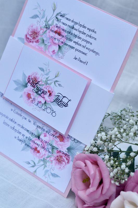 Eleganckie zaproszenia z peoniami