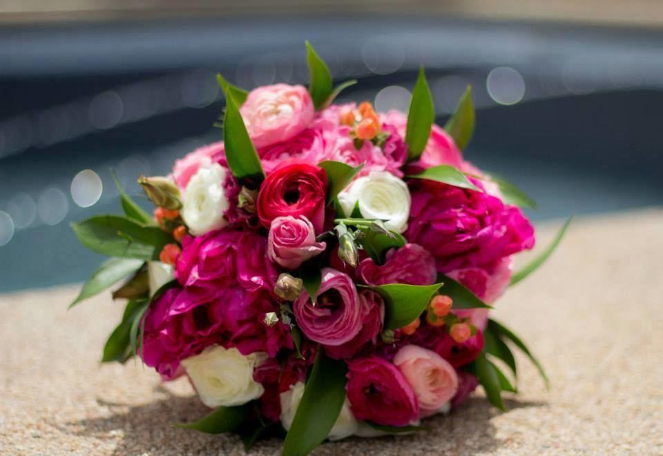 Ramo de Novia en tonos fucsia, rosado y blanco