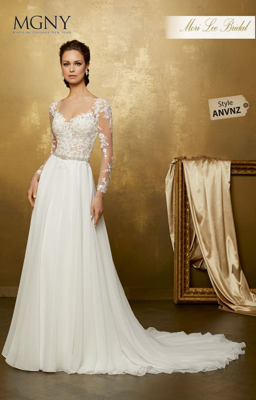 Style ANVNZ Ophelia  Crystal beaded lace appliqués on net bodice meets flowing chiffon skirt with diamanté beaded waistband  Matching satin bodice lining included