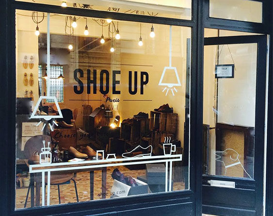 Vitrine showroom Shoe Up 133 rue Cardinet, Paris 17ème