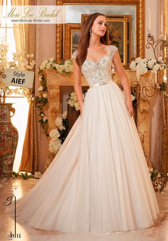 Wedding  Gown AIEF  Crystalized Embroidery on Soft Tulle Ball Gown  Removable Beaded Satin Belt included. Colors Available: White/Silver, Ivory/Silver, Ivory/Champagne/Silver