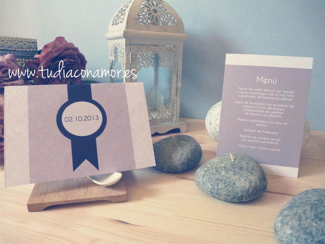 Papelería de boda lila
