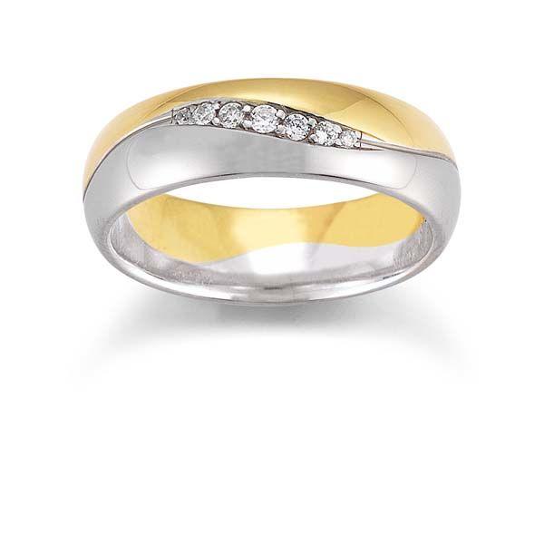 Geel met witgouden trouwring pave gezet met briljant geslepen diamanten verkopend in grootte, atelier Gerstner.