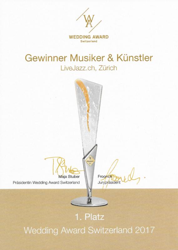 WEDDING AWARD WINNER 1. PLATZ MUSIKER UND KÜNSTLER