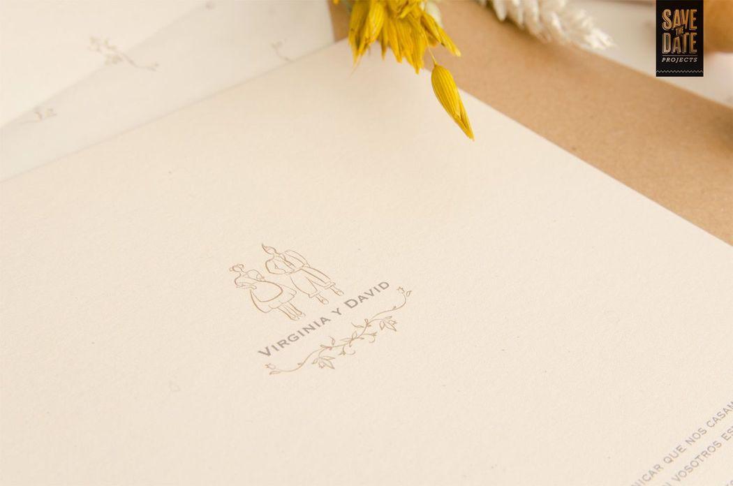 Logo de boda para esta invitación de boda campestre.
