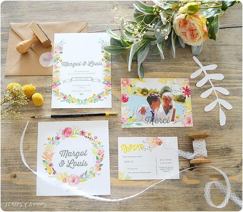 Faire-part mariage fleurs happy Entièrement peint à l'aquarelle Happy Chantilly