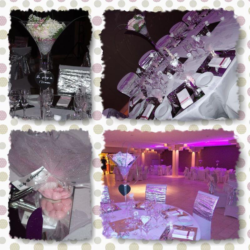 Décoration de la salle de réception et des tables en argent et rose pâle.