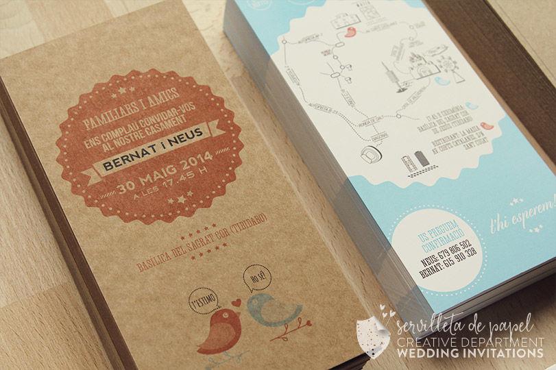 Invitación de boda Bernat + Neus | www.servilletadepapel.es