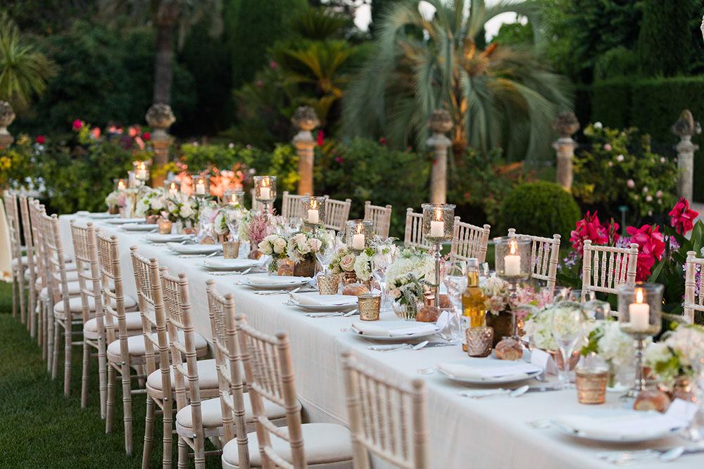 Organisation mariage sur la Côte d'Azur pour Sharveen & Martin à la Villa Ephrussi de Rothschild - Centres de table