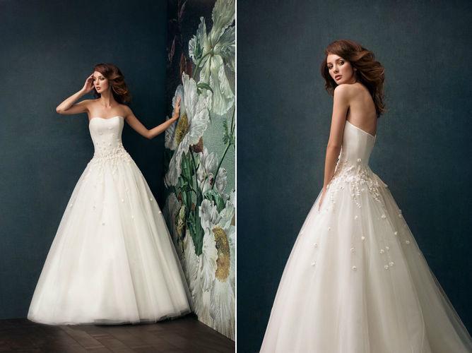 Beispiel: Trägerloses Brautkleid, Foto: Verinas.