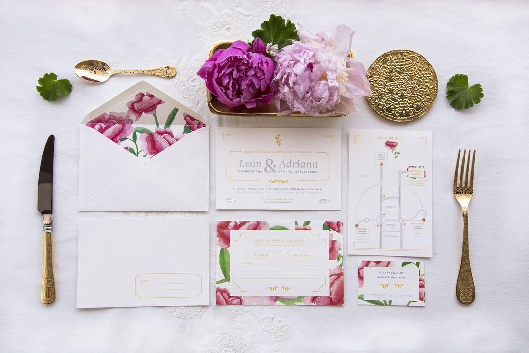 Colección de papelería de bodas 'La Virginia' by Loveratory. Inspirada en las urbanización marbellí del mismo nombre, transmite primavera y alegría. Clásica, equilibrada, atemporal y romántica.