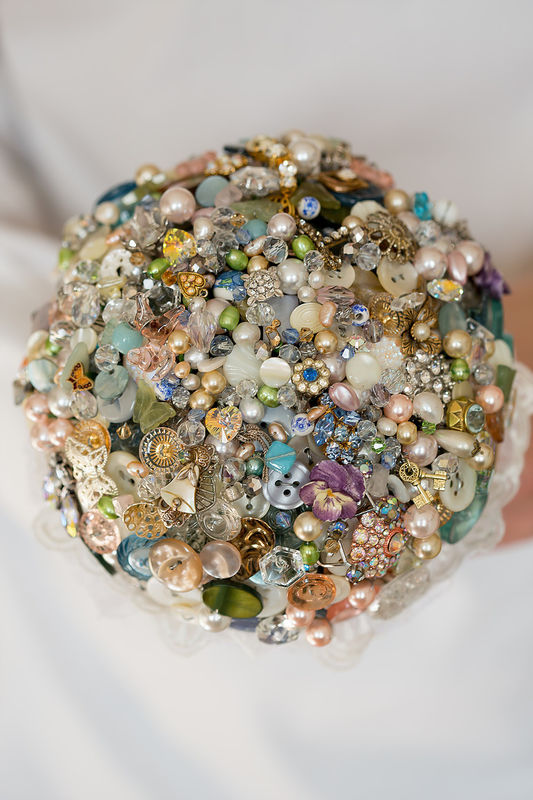 vintage button and brooch bouquet