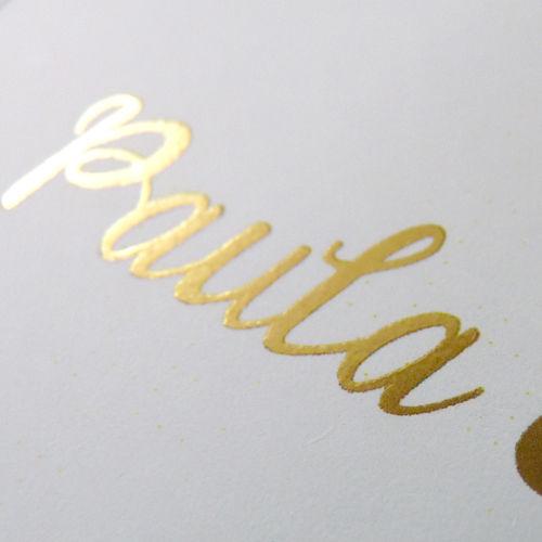 Beispiel: Einladungskarte -  Golddruck, Foto: uupsa.