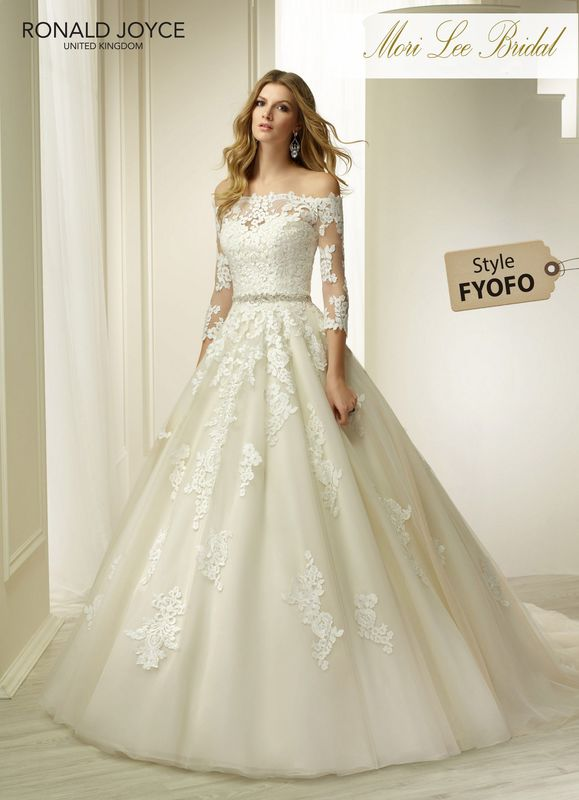 Style FYOFO HINA  A STRAPLESS ORGANZA AND SATIN DRESS WITH LACE APPLIQUES AND BEADED BELT DETAIL. PICTURED IN IVORY/CHAMPAGNE.  COLOURS IVORY, IVORY/CHAMPAGNE