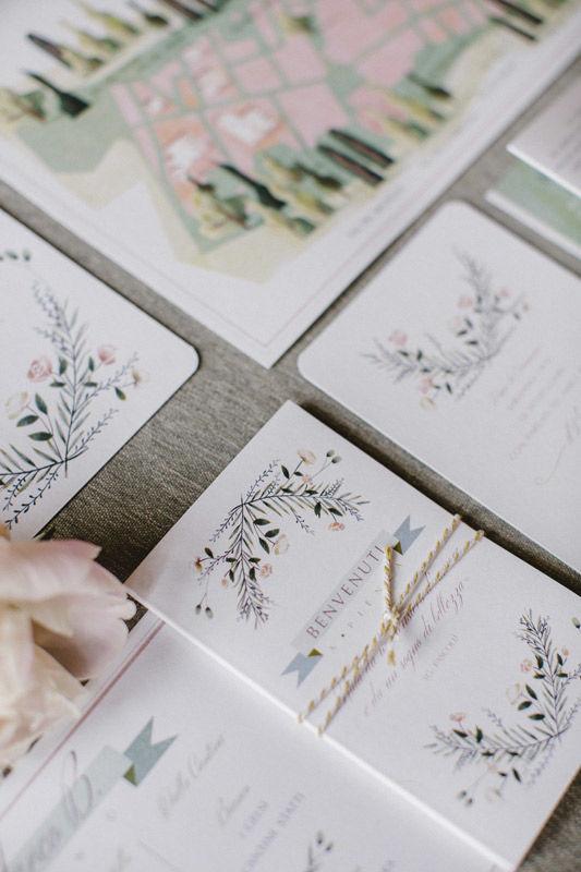 Stationery - dettaglio: Illustrazioni per un matrimonio romantico - foto di Les Amis Photo