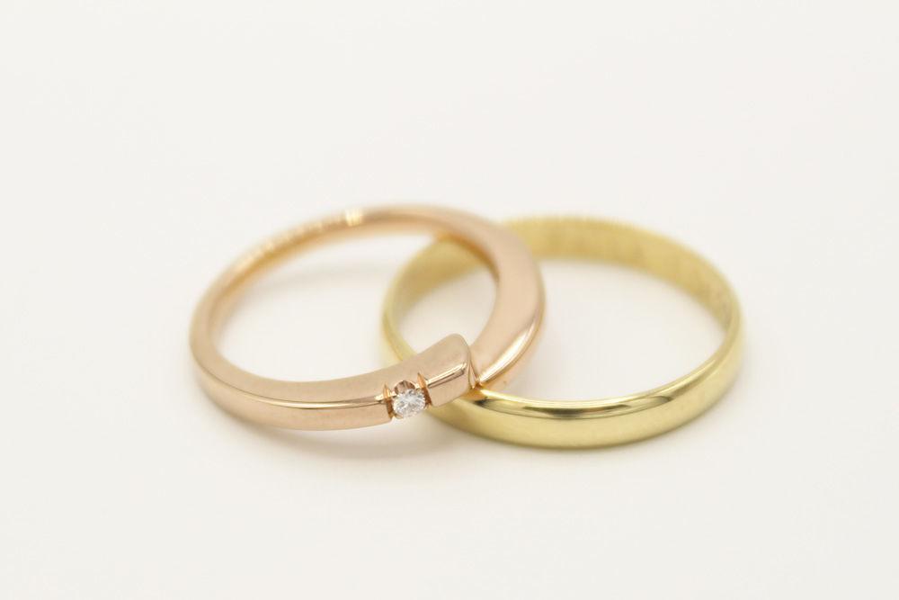 Oro rosado y amarillo 18k. Diamante central