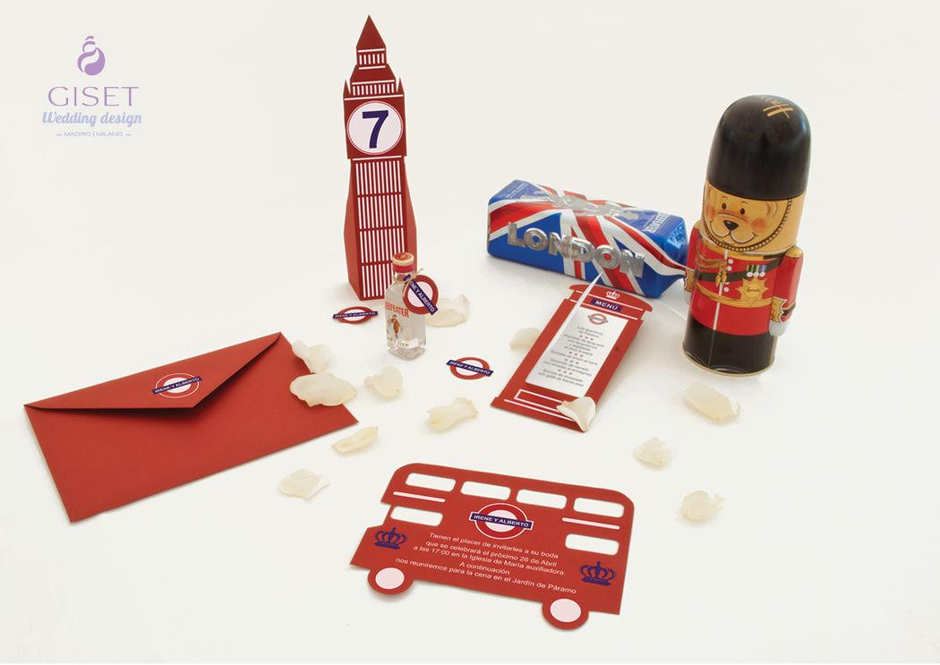 Invitaciones, números de mesa, minutas y detalles con temática londinense