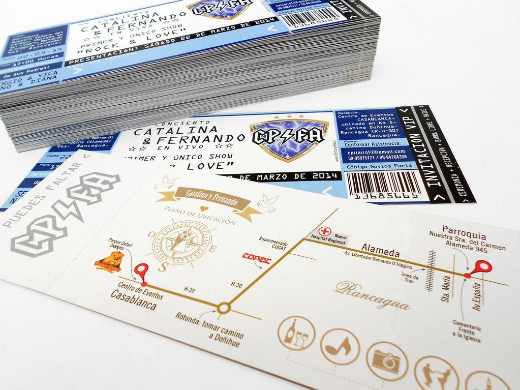 Ticket / Entrada concierto, Incluye sobre con nombre de los novios impreso