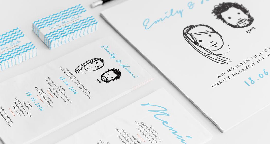 Studio Ja Ja: Hochzeitspapeterie: Punkt Punkt Komma Strich…  …fertig ist das Mondgesicht! Schlichte, moderne Ästhetik und Ihr beide als handgemaltes Portrait: das macht Spaß. Für die Gestaltung Eurer Papeterie stehen vier wunderbare Muster zur Auswahl. Wenn das mal keine Qual der Wahl ist!
