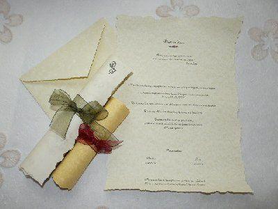 La cigüeña de papel, invitación de pergamino