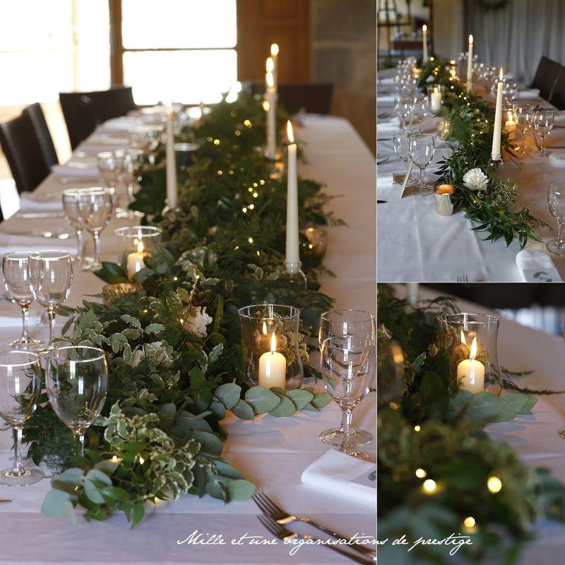 Déco table mariage chemin de table végétal