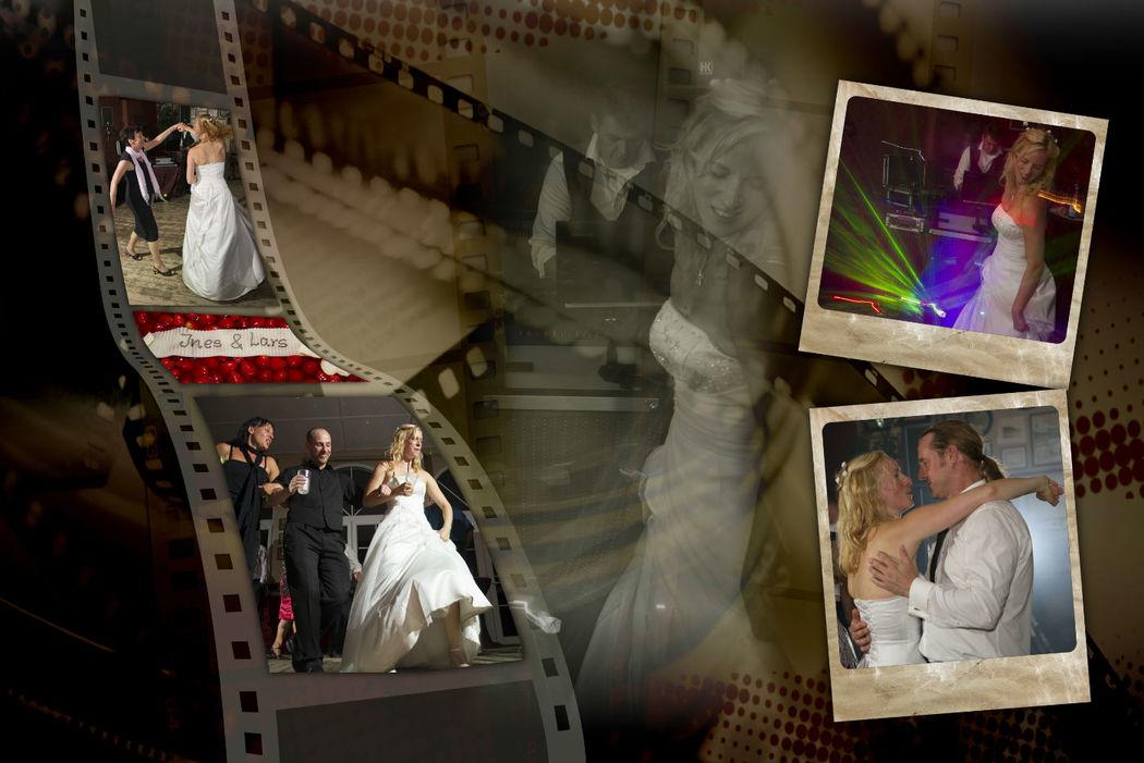 Stimmungsbilder der Hochzeitsfeier am Berliner Müggelsee im Collagendesign.