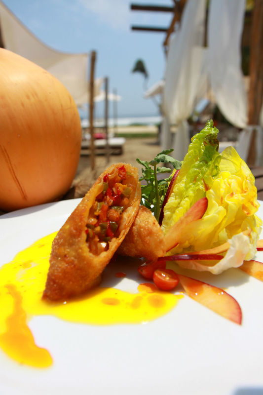 rollos thailandes con salsa de mango
