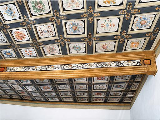 Beispiel: Kassettendecke im Trauzimmer, Foto: Renaissanceschloss Ponitz.