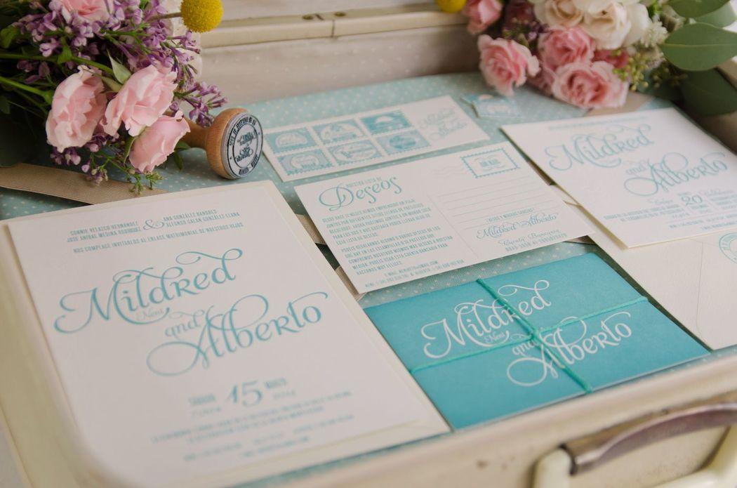 Invitaciones de boda y lista de boda
