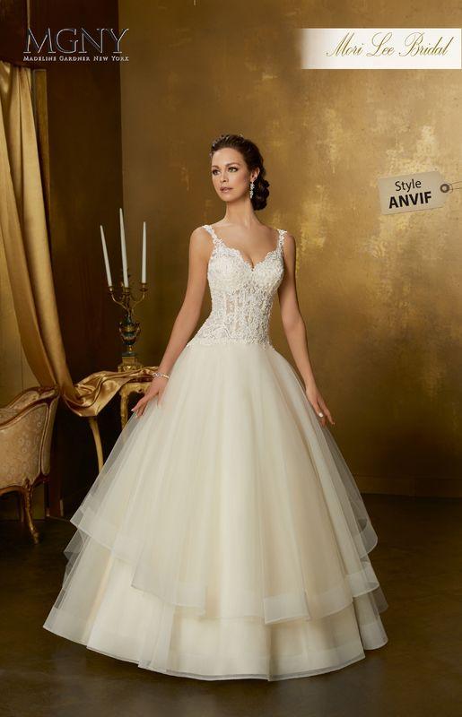 Style ANVIF Ofira  Crystal beaded alençon lace appliqués on boned, corset bodice with horsehair edged, flounced ball gown skirt