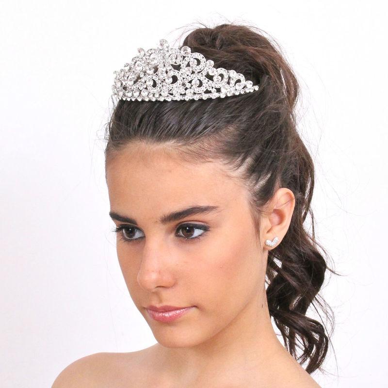 Arya Italian Jewels - Accessori Acconciatura matrimonio - Tiara in rodio con strass Swarovski