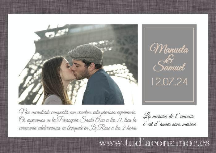Tarjeta postal de boda con foto de los novios