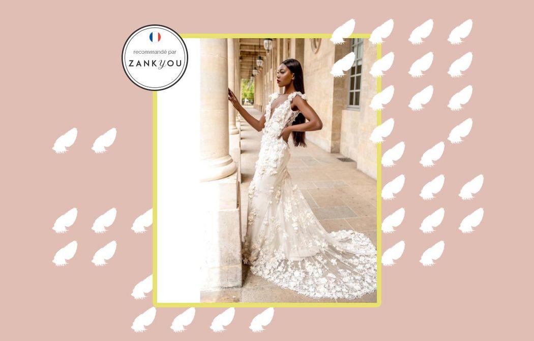Robe de mariée Paris haute gamme broderie ivoire 3d traine | Collection 2018 | Veronika Jeanvie