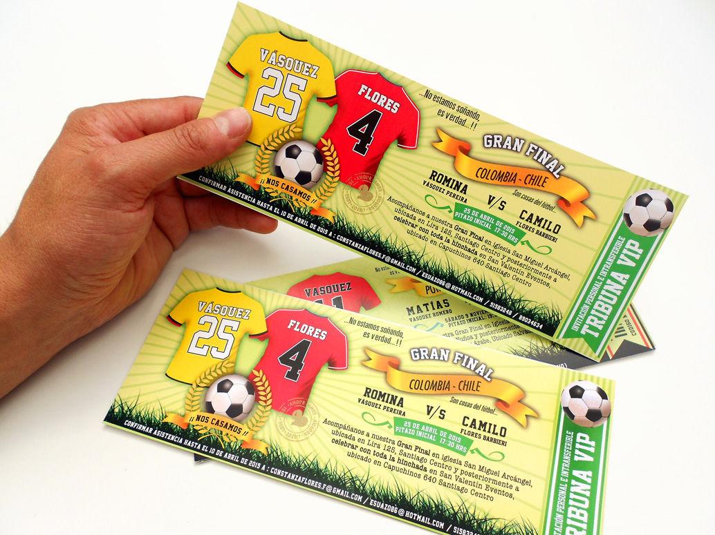 Ticket / Entrada estadio Incluye sobre con nombre de los novios impreso