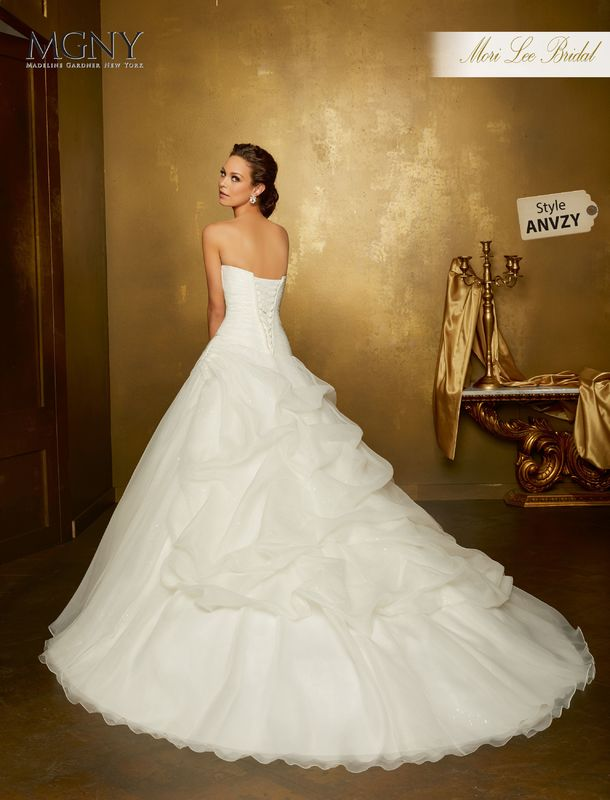 Style ANVZY Ohanna  Asymmetrically ruched organza ball gown over sequined tulle embroidered net button back jacket