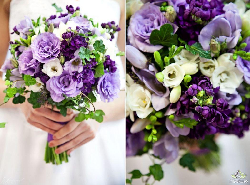 Lekki i romantyczny fioletowy bukiet ślubny z pachnących kwiatów. Cena ok 240pln