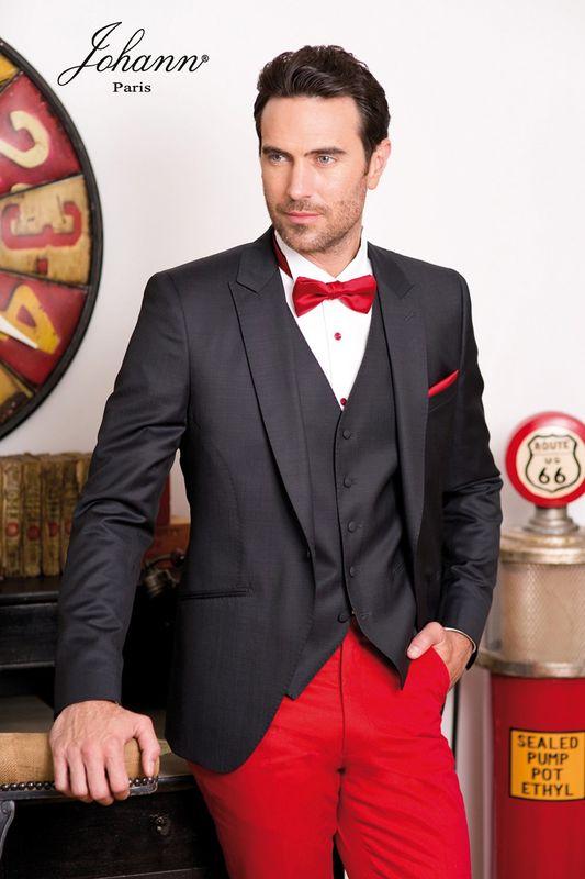 Costume mariage bicolore anthracite pantalon rouge sur mesure