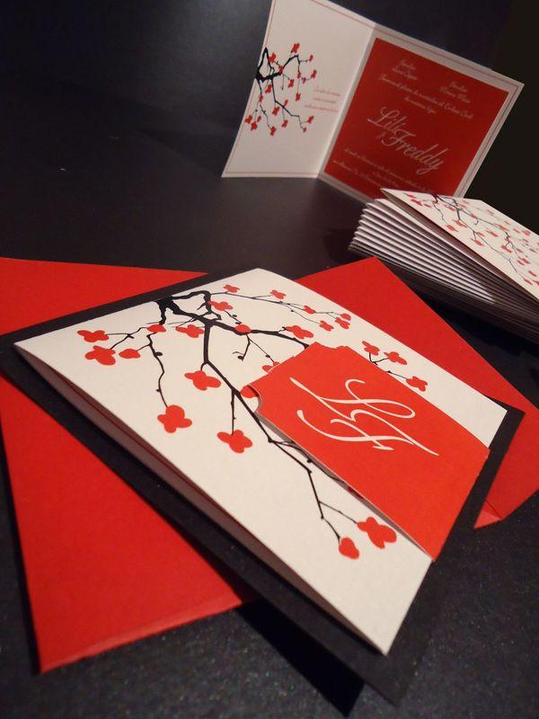 Invitación Boda Tema Cerezo Rojo