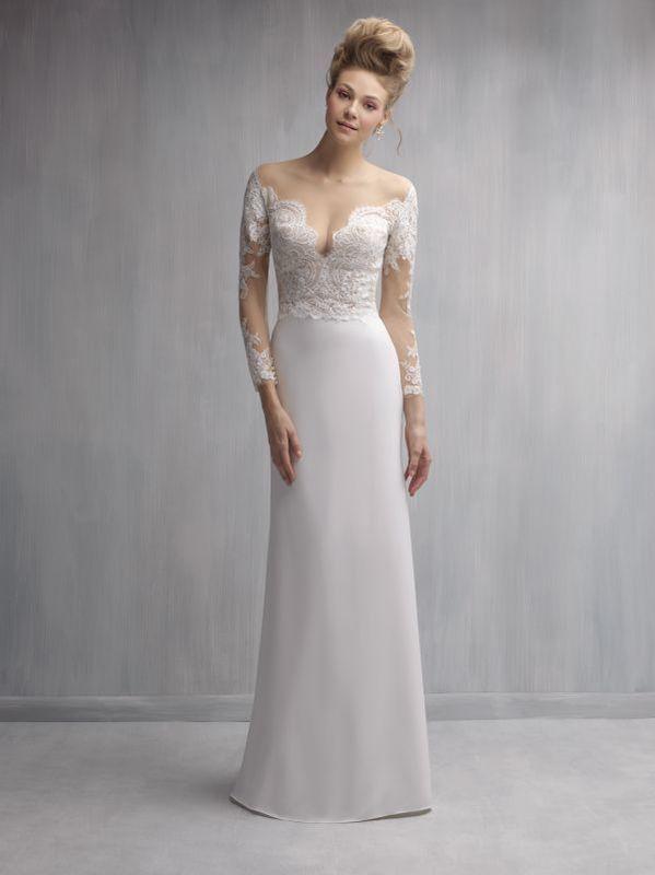 Элегантное свадебное платье прямого кроя. Откровенный кружевной верх отлично подчеркнёт грудь, линию плеч и спину, а струящаяся юбка - пикантные изгибы талии.