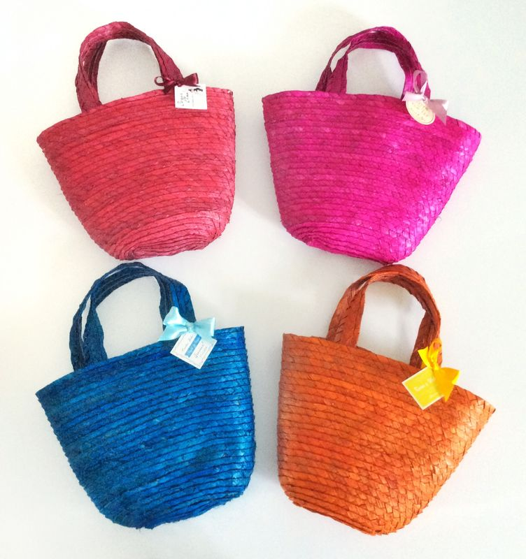 Mini bolsa de palma de colores surtidos personalizadas
